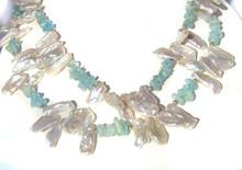 Kishi Pearl & Aquamarine Necklace