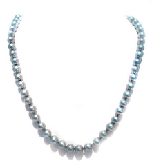 Platinum Tahitian Pearl Necklace with 14K Clasp