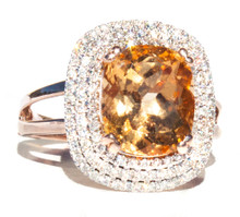 Rare Imperial Hessonite Garnet & Diamond 14k Gold Ring