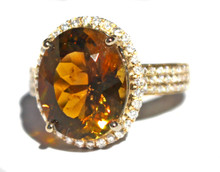 Honey Tourmaline & Diamond 14K Ring