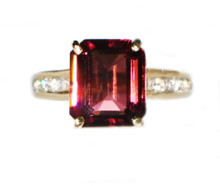 Rubellite Tourmaline & Diamond 18K Ring