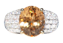 Imperial Hessonite Garnet & Diamond Designer Ring