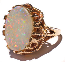 Australian Coober Pedy Black Opal Ring