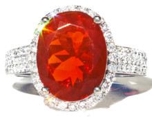 Mexican Fire Opal & Diamond14K Ring