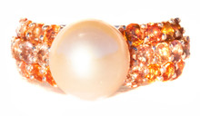 Pink South Sea Pearl & Padparadscha Sapphire Gold Ring