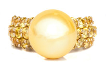 Golden South Sea Pearl & Sapphire Gold Ring