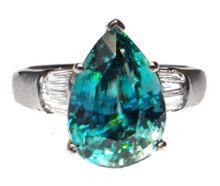 Cambodian Blue Zircon Pear & Diamond Ring