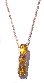 Three Stone Mali Garnet 14K Pendant with Chain