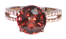 Orangy Red Zircon & Diamond Ring