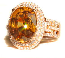 Honey Zircon & Diamond Ring