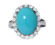 Sleeping Beauty Turquoise & Diamond 18k Ring