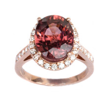 Oval Deep Rose Zircon & Diamond Ring