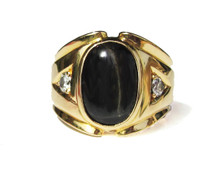 Art Deco Cat's Eye Sapphire & Diamond 18K Ring