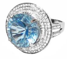 Large Aquamarine & Diamond 14K Ring