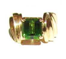 Green Tourmaline 14K Yellow Gold Ring