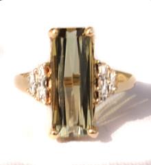 Sage Green Tourmaline & Diamond Ring