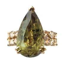 Color-Changing Diaspore & Champagne Diamond 18K Ring