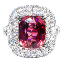 Padparadscha Rubellite Tourmaline & Diamond 18K Ring