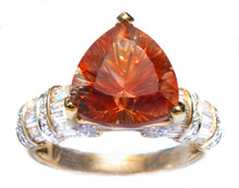 Orange Oregon Copper-Bearing Schiller Sunstone & Diamond 18K Ring