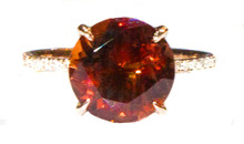 Oregon Copper-Bearing Sunstone & Diamond Gold Ring