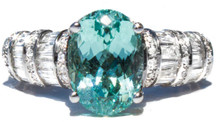 Seafoam Mint Color Tourmaline & Diamond Ring
