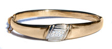 Art Deco Diamond 18K Bangle Bracelet