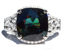Greenish Blue Spinel & Diamond 18K Ring