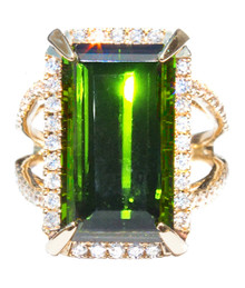 Green Tourmaline & Diamond 18K Ring