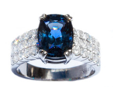 Rare Blue Spinel and Diamond 18k Ring