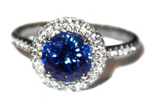 Round Tanzanite & Diamond 18K White Gold Ring