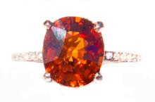 Spessartite Mandarin Garnet & Diamond 14K Ring
