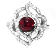 Cherry Red Spinel & Diamond Ring