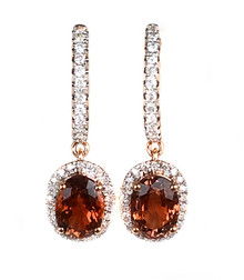 Tourmaline & Diamond Dangle Earrings