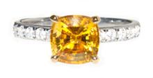 Canary Yellow Sapphire & Diamond 18K Ring