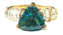 Blue Zircon Trillion & Diamond 18K Ring