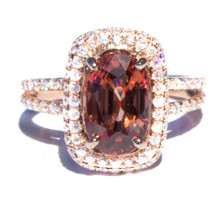 Tanzanian Peach Zircon & Diamond Ring