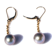 Lavender South Seas Pearl & Gold Dangle Earrings
