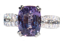 Unheated Purple Sapphire & Diamond 18K Ring