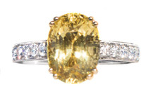 Unheated Yellow Sapphire & Diamond 18K Ring