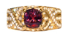 Rare Songea Ruby & Diamond 18K Ring