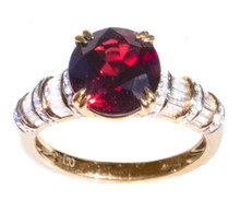 Burma Pigeon Blood Red Spinel & Diamond 18K Ring