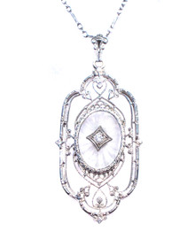 Art Deco Camphor Glass & Diamond 14K Pendant