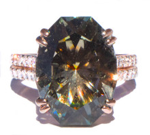 8.8 ct. Sage Green Tourmaline Diamond 18K Rose Gold Ring