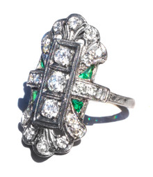 Art Deco Diamond & Emerald Dinner Ring