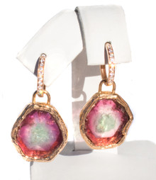 Watermelon Tourmaline & Diamond Dangle Earrings 18KR