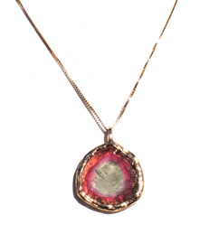Watermelon Tourmaline Pendant with Chain 18K