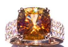 Golden Tourmaline Diamond 18K Rose Gold Ring