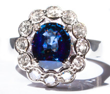 Rare Color Changing Blue Spinel and Diamond 18K Ring