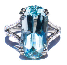 Rare Untreated Blue Topaz & Diamond Ring