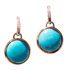 Sleeping Beauty Turquoise Diamond 18K Earrings